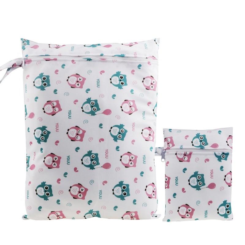 Uesful Newborn Baby Diaper Bags Cartoon Zippered Wet Dry Bag Waterproof Wet Cloth Diaper Backpack Reusable 2PCS