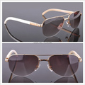 Half-Rim Fashionable Natural Carter White Buffalo Horn Sunglasses Mens Eyewear Cool Driver Outdoor Sun Glasses 6101002