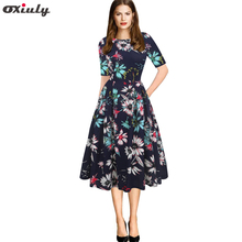 Oxiuly Elegant Women's Dresses Vintage Floral Printed Tunic Pinup Wear To Work Office Casual Party A Line Flare Skater Dress цена и фото