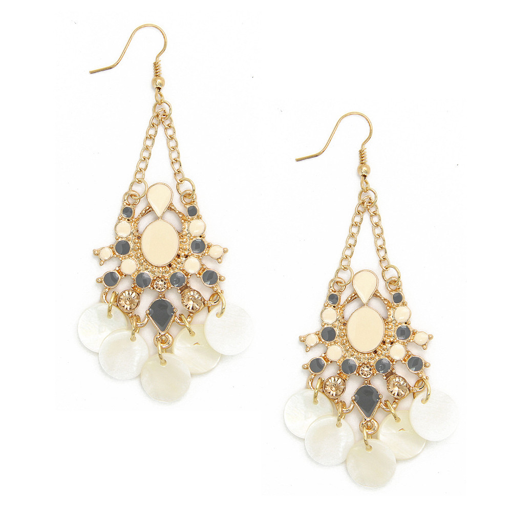 Vinatge exaggerate palace restoring ancient ways shell pendant drip diamond earrings CE133