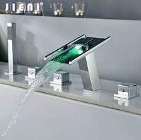 Chrome Polished LED Waterfall Deck Mounted Hand Shower Bathroom Basin Sink Faucets 5 Holes Faucets Bathtub LED Faucet Set
