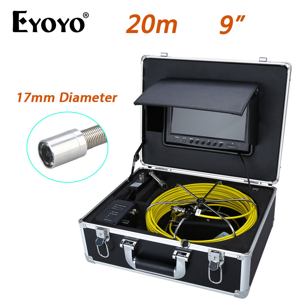 Eyoyo 20M 9 LCD 17mm Wall Drain Sewer Pipe Line Inspection Camera System CCTV Cam 1000TVL Snake Inspection Color HD Sun shield eyoyo 20m 9 lcd 23mm wall drain sewer pipe line inspection camera system snake endoscope cmos 1000tvl hd color tft sun shield