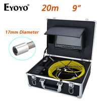 Eyoyo 20M 9 LCD 17mm Wall Drain Sewer Pipe Line Inspection Camera System CCTV Cam 1000TVL Snake Inspection Color HD Sun shield
