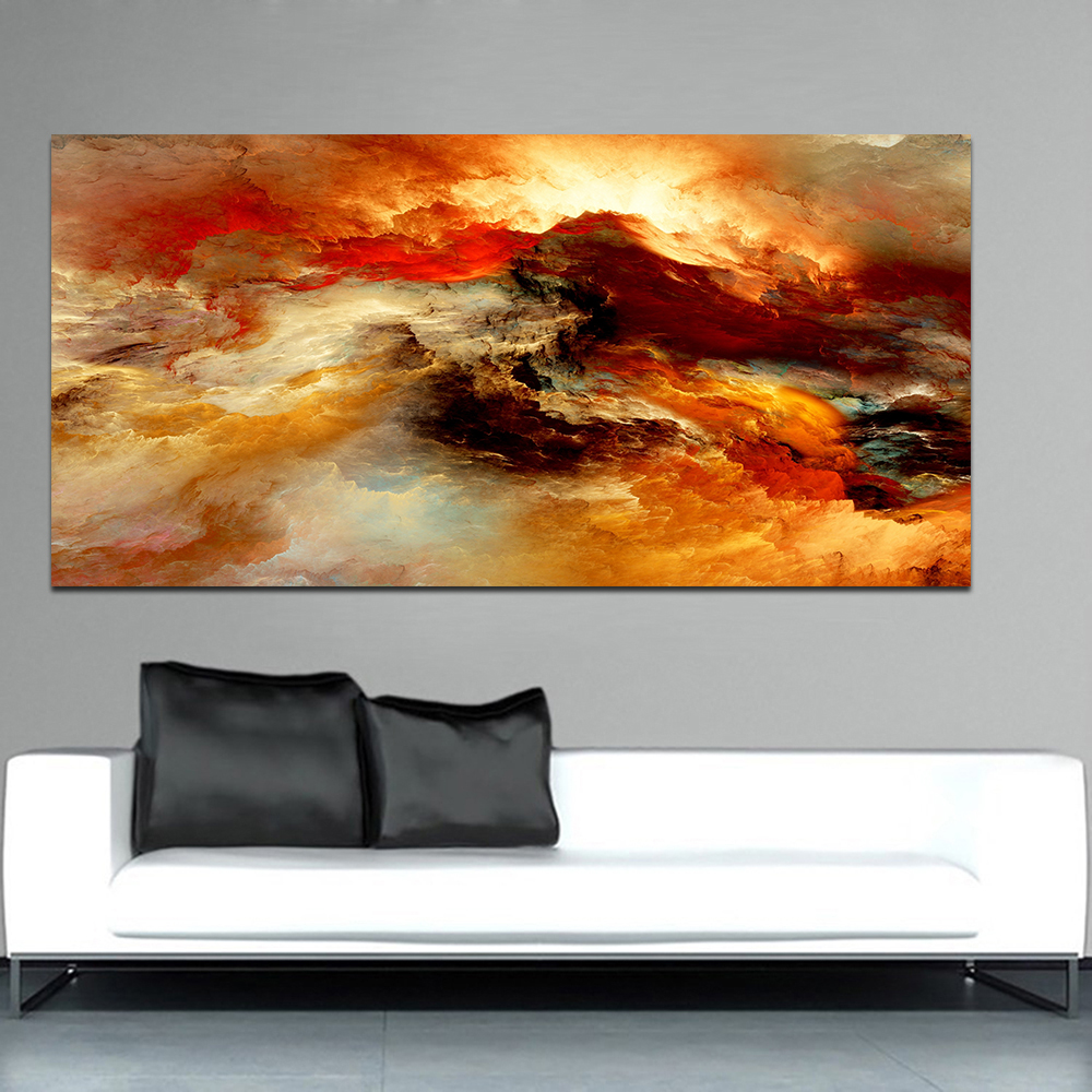 WANGART Large Size Poster Art Prints Cloud Abstract Colorful Oil Painting Brown Canvas for Living Room Wall Picture no frame