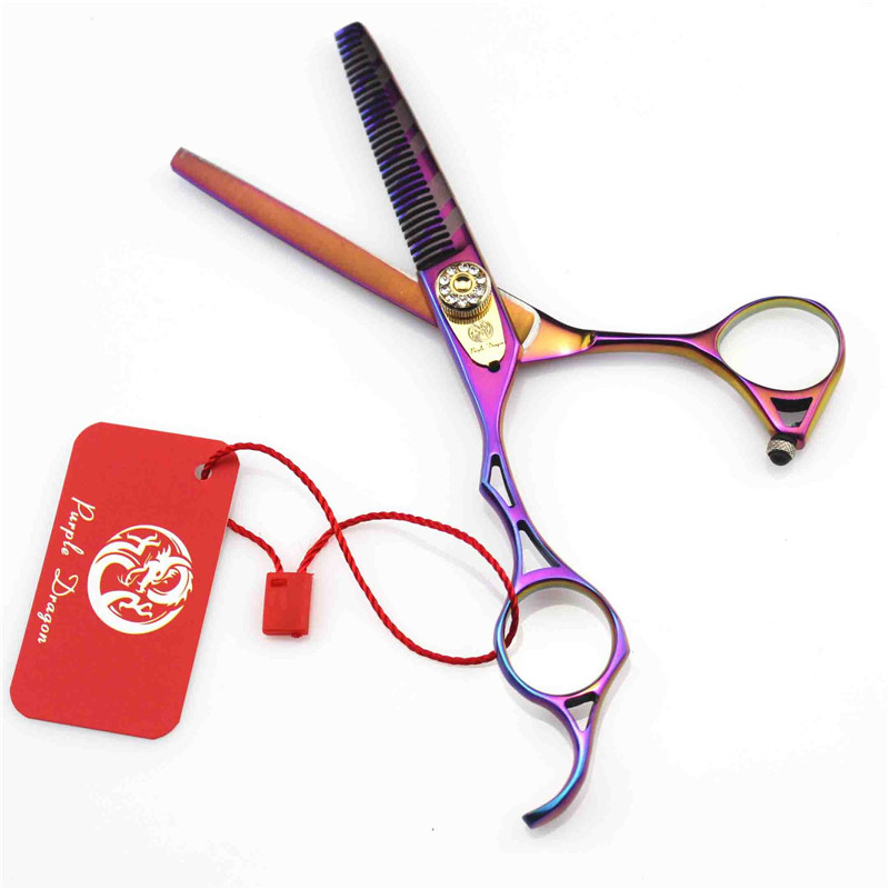 Purple Dragon 5.5 inch Left Handed Hair Scissor Professional Hairdressing Scissors Colorful Japanese 440c Steel Thinning Shear purple dragon 7 inch professional left handed scissors grooming tools goods for pets dog hair clipper sliver japanese 440c steel