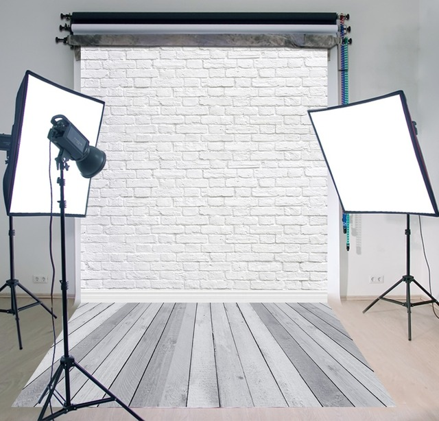11.11 Double 11 Photo Background Grey Wood Floor Studio Vinyl White Bricks Photography Backdrop for Pets Cakes Photos  D-9713