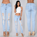 Mujeres Agujero Sexy Ripped Denim Pantalones Lápiz Ocasional Maxi Largo Jeans Pantalones Delgados