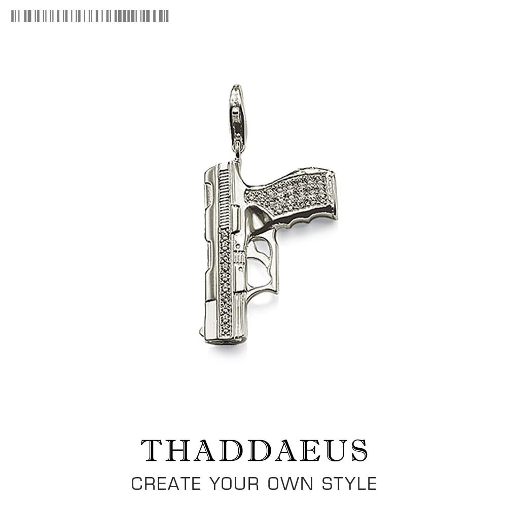 Charm Pistol Gun 925 Sterling Silver For Women & Men Trendy Club Gift Thomas Style Charm DIY Jewelry Fit  Bracelet Breloque