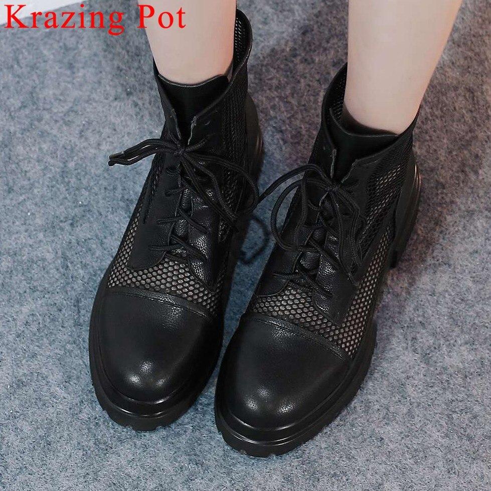 2019 belles filles moto européenne bottes maille en cuir naturel à lacets bottes d'été talons med plate-forme grande taille bottes L17