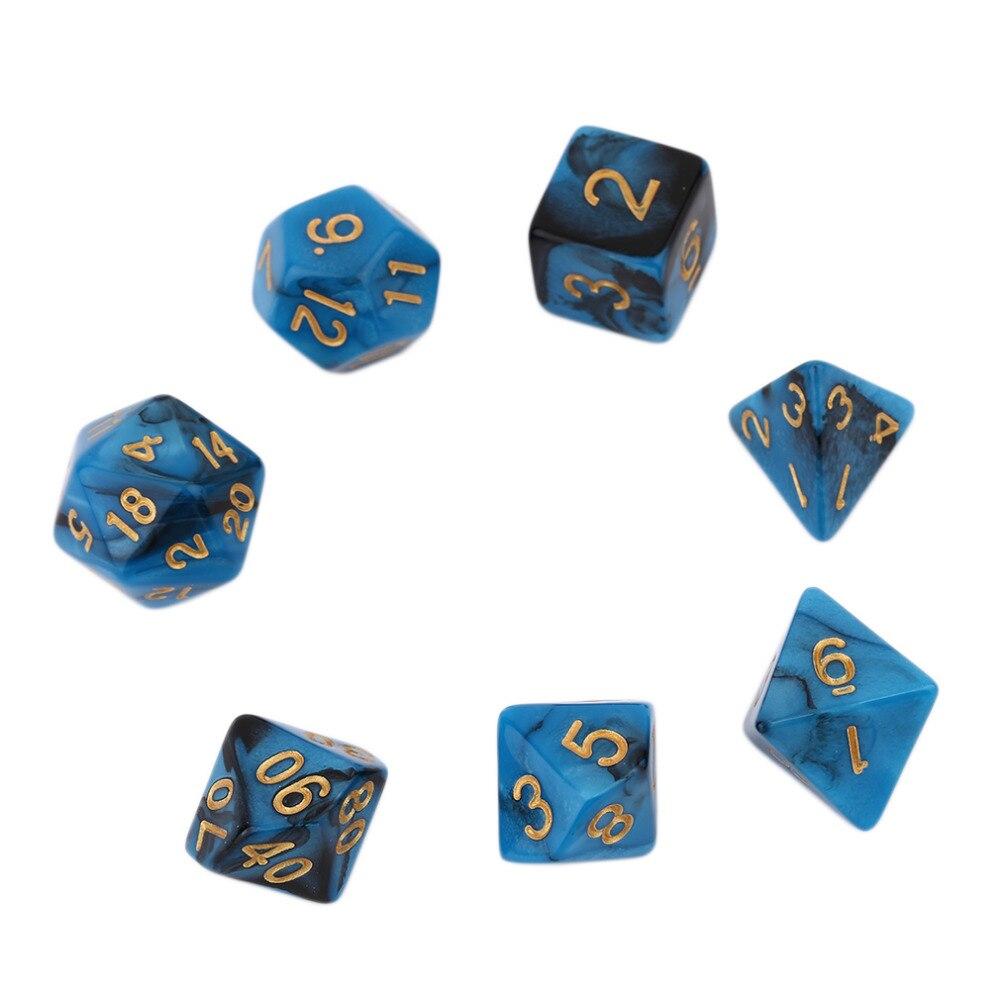 7 יח 'ערכת יצירתי צבע כפול מעורבב סדרה קוביות קוביות מרובות אקריליק רב 16-20mm D4 D6 D6 D8 D10 D12 D20 משלוח משחרר מצחיק