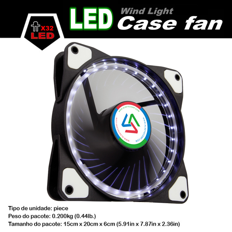 ALSEYE 120mm LED Cooler Fan for Computer Case / CPU Fan DC 12v D4-3pin 1100RPM 3 Color Available Silent Cooling Fan satechi aluminum type c usb 3 0 and micro sd card reader gold b01eu2kri8 st tccrag