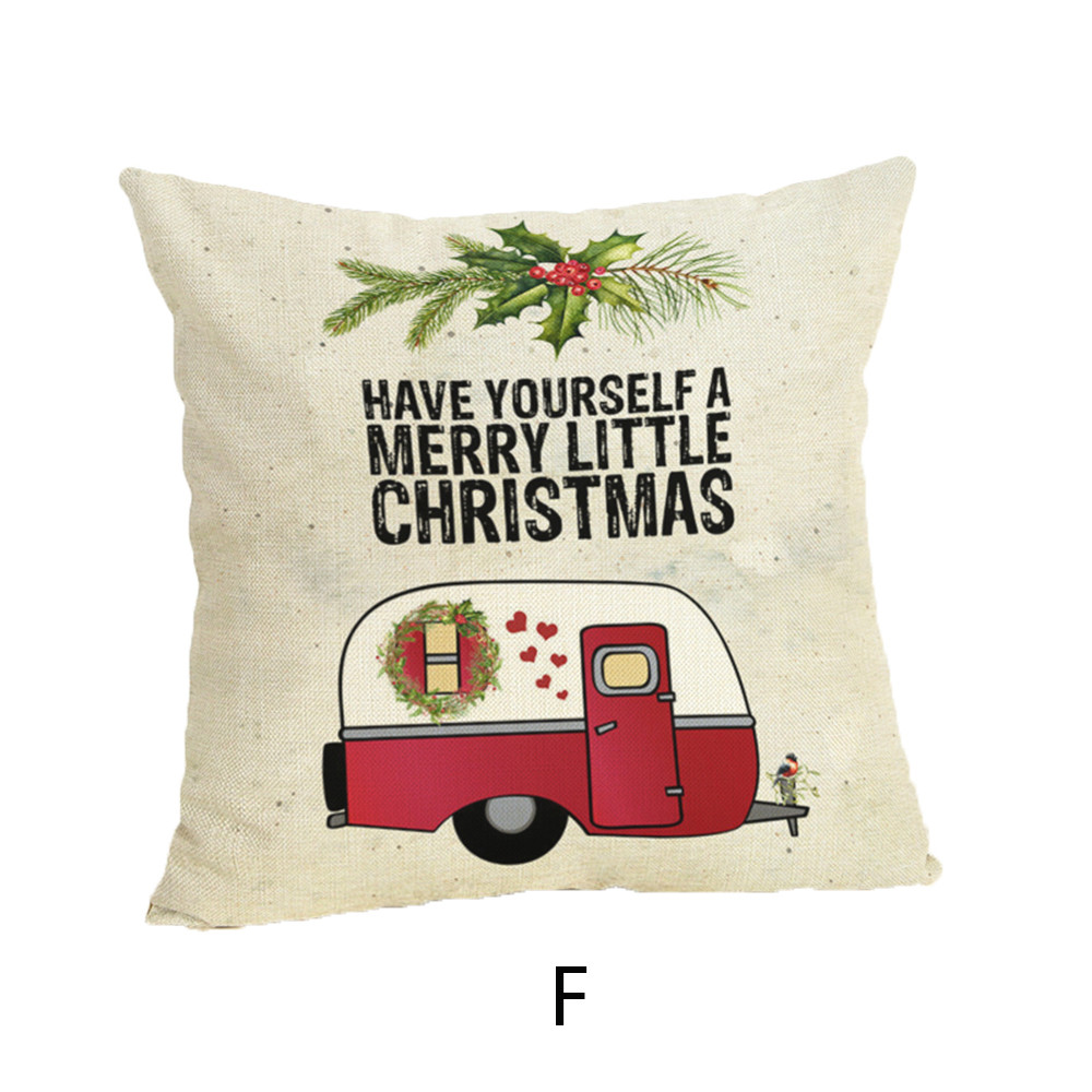 pillow cover geometric Happy Christmas Pillow Cases Linen dakimakura Sofa Cushion Cover Home Decor Pillow Case