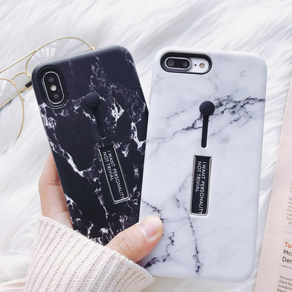 Fashion Marble Soft Silicon Ring Phone Case For iPhone X XR XS MAX Case Hide Stand Back Cover For iPhone X 8 7 6 6S Plus