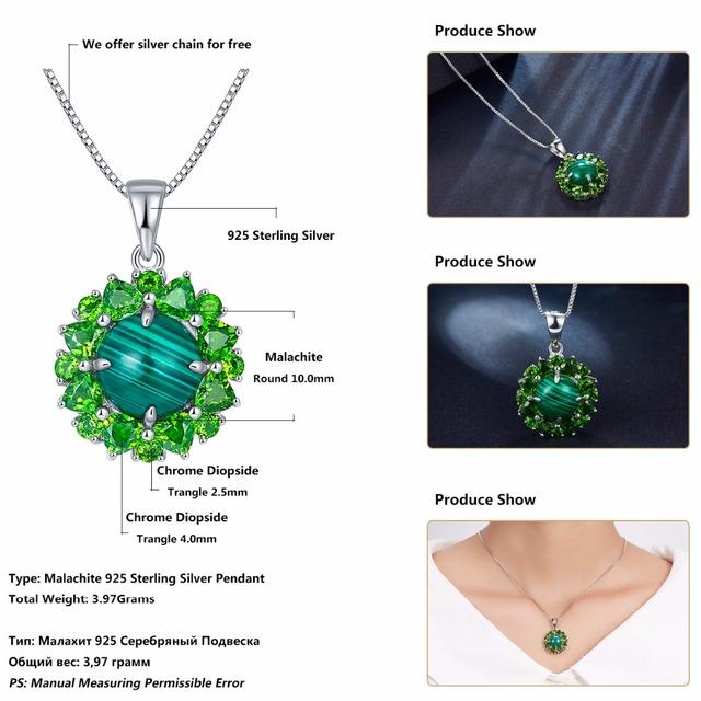 POPOKi Malachite & Green Diopside Pendant & Silver Necklace