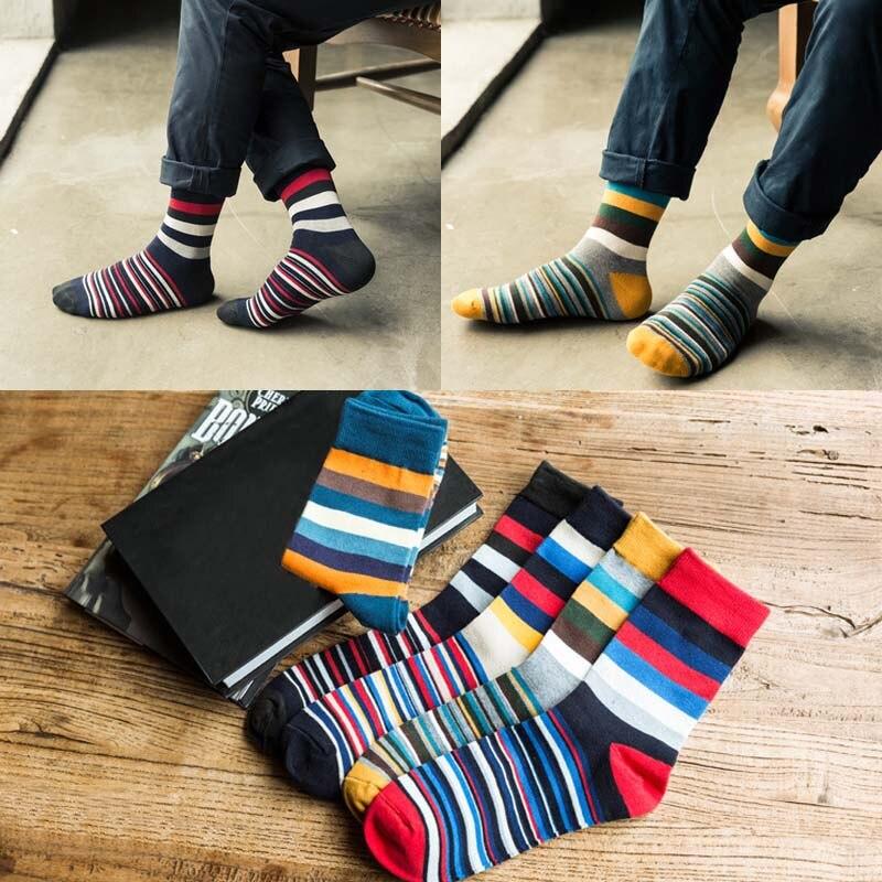 High Quality Comfortable Man Crew Socks Fashion Stripe Soft Autumn winter Cotton Lengthen Mens socks