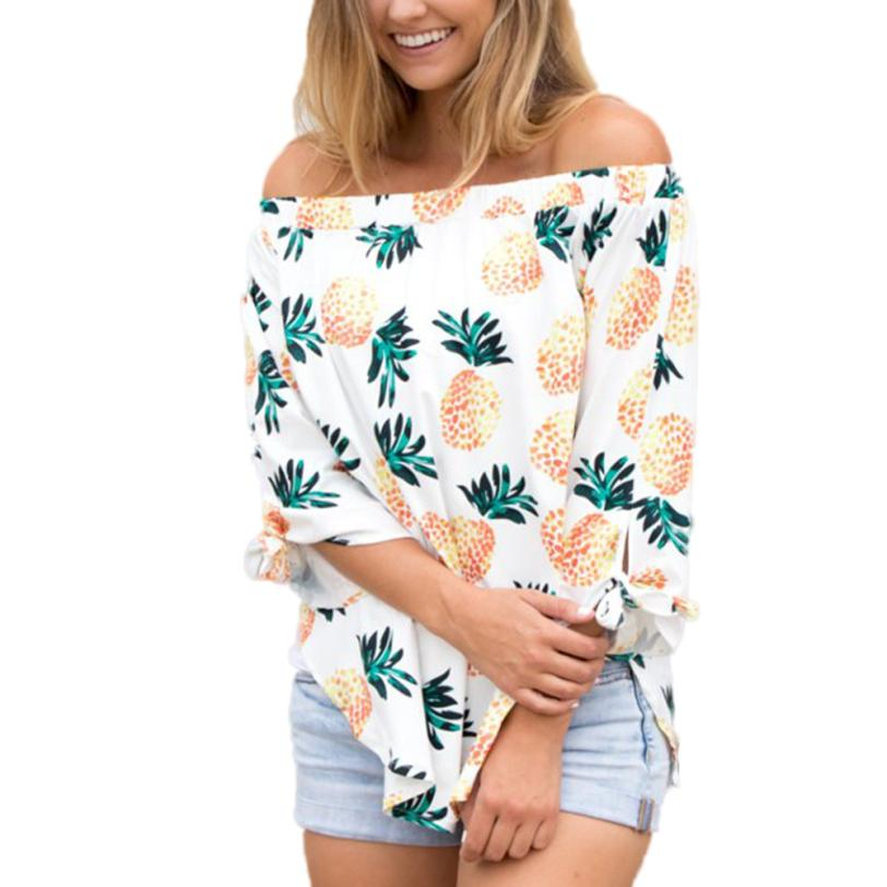 Mooistar #W030  Women Ladies Sexy Tops Fashion Long Sleeve Shirt Pineapple Printing Blouse