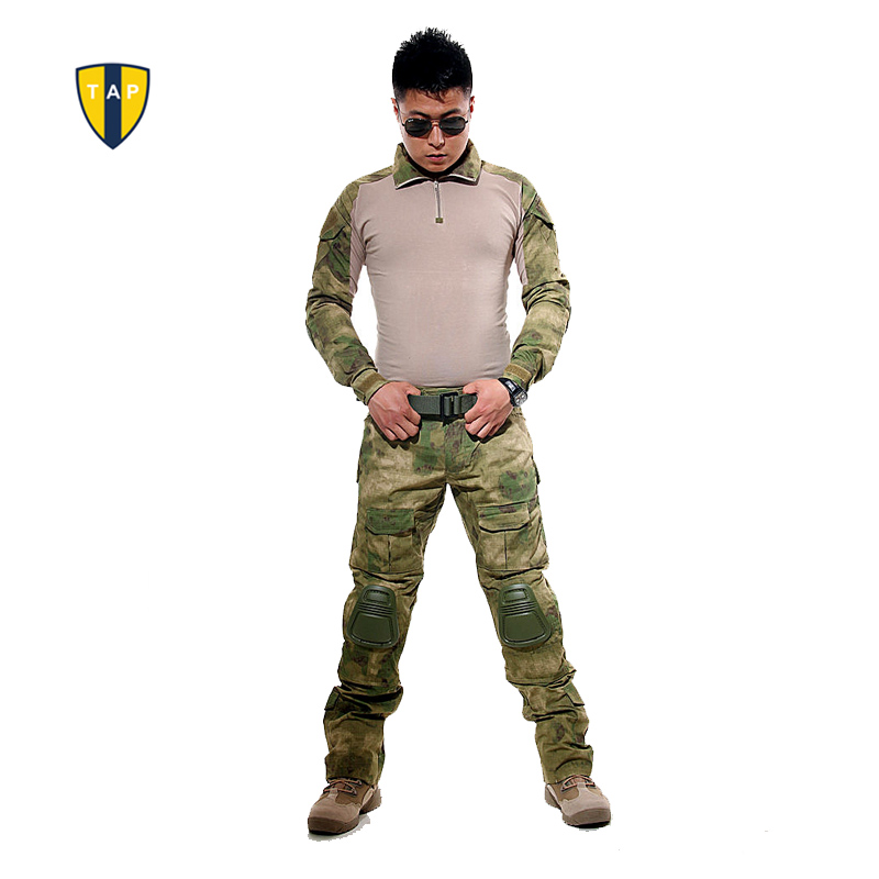 цена на US Tactical Ghillie Suit Camouflage Military Uniform Army Suit Combat Shirt Tactical Pants With Pads Paintball Hunting Clothes