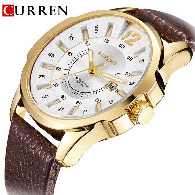 Prix pour CURREN Hommes Montres Top Marque De Luxe En Cuir Starp Hommes de Quartz Date Horloge Hommes De Mode D'affaires Montre-Bracelet Relogio Masculino