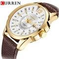CURREN Mens Relógios Top Marca de Luxo de Couro Starp Quartz Data Relógio dos homens Homens de Negócios de Moda Relógio de Pulso Relogio masculino