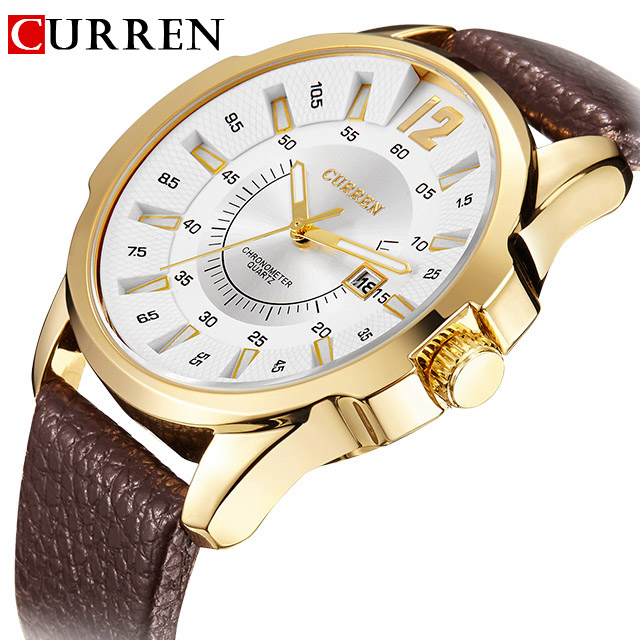 CURREN Mens Watches Top Luxury Brand Leather Starp Men's Quartz Date Clock Men Fashion Business Wrist Watch Relogio Masculino xinge top brand luxury leather strap military watches male sport clock business 2017 quartz men fashion wrist watches xg1080