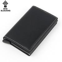 Fashion Man Rfid Blocking Credit Card Holder Aluminium Metal Box bank Card protector Crazy Horse Genuine Leather Pop up Wallet