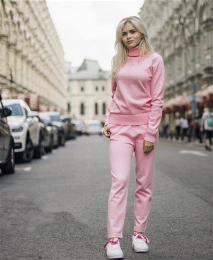 Collo Delle Lavoro 2018 Donne colore Cachi Maglione Pezzi A Rosa Top Cotone Pantaloni Inverno E azzurro Di Solido Pullover grigio Due Maglia Cielo Abiti Alto qCaOwtC