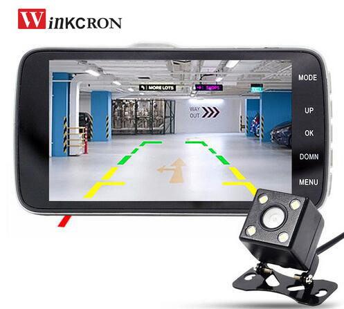 Winkcron 4.0 inch IPS Dual Lens Car Rear view DVR Camera DVR Video Recorder FHD1080P Car Dash Cam with ADAS System Night Vision