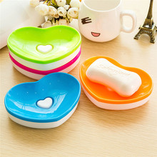 New 5pc Toilet Soap plastic Silicone Holder Plate Bathroom Heart Shape Soapbox Soap Dish style bathroom diagnostic-tool banheiro