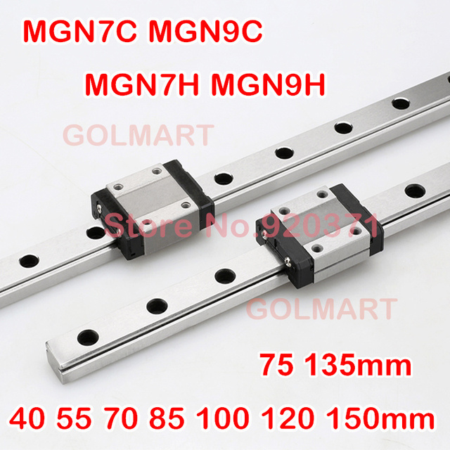 7mm 9mm Linear Guide MGN7 MGN9 L= 40 55 70 85 100 120 135 150 mm linear rail way MGN7C MGN9C MGN7H  MGN9H Long linear carriage