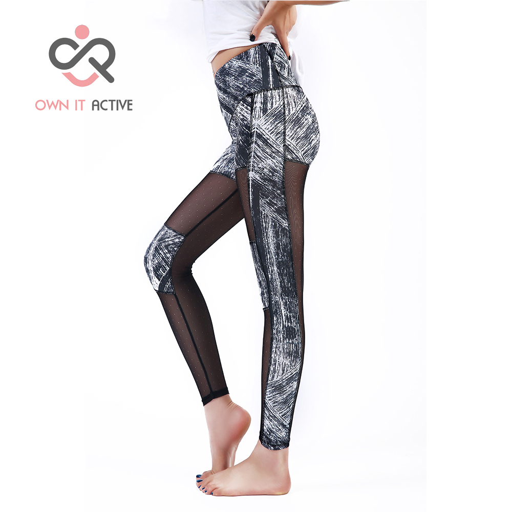 Womens Gym Yoga Pants See Through Panel Stylish sport Leggings Sport Pants fitness Running Exercise Elasticity Jeggings P001