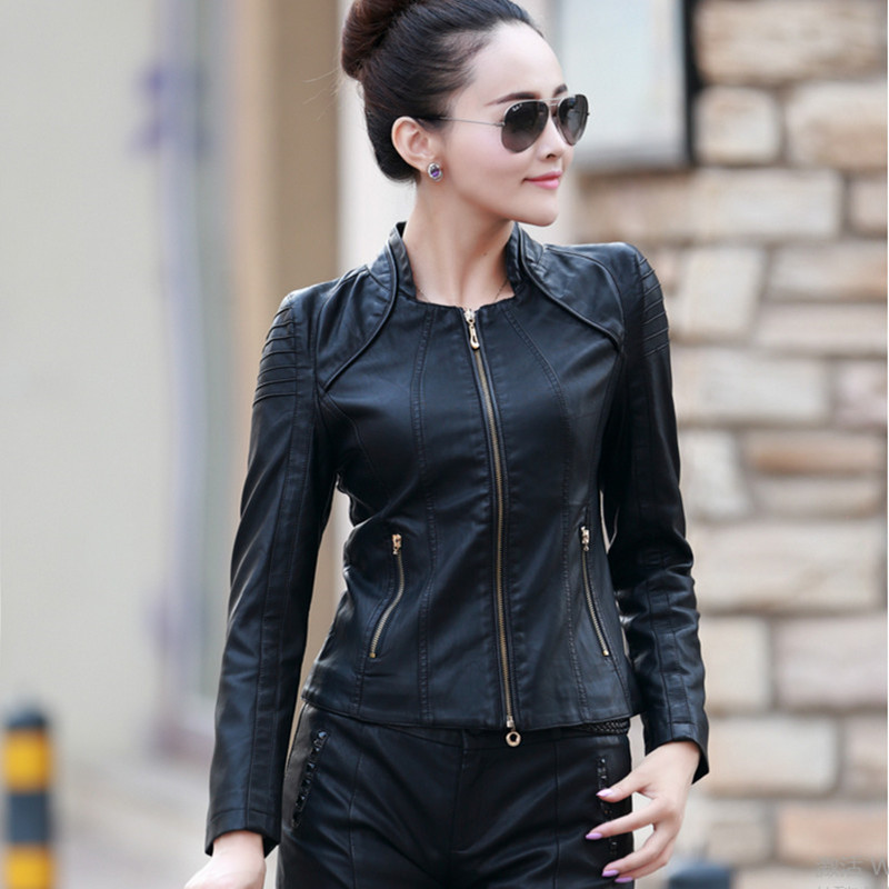 Hot 2018 Autumn New Women Clothing   Leather   &   Suede   Slim Stand Collar   Leather   Jacket Women Plus Size PU Motorcycle   Leather   Coat