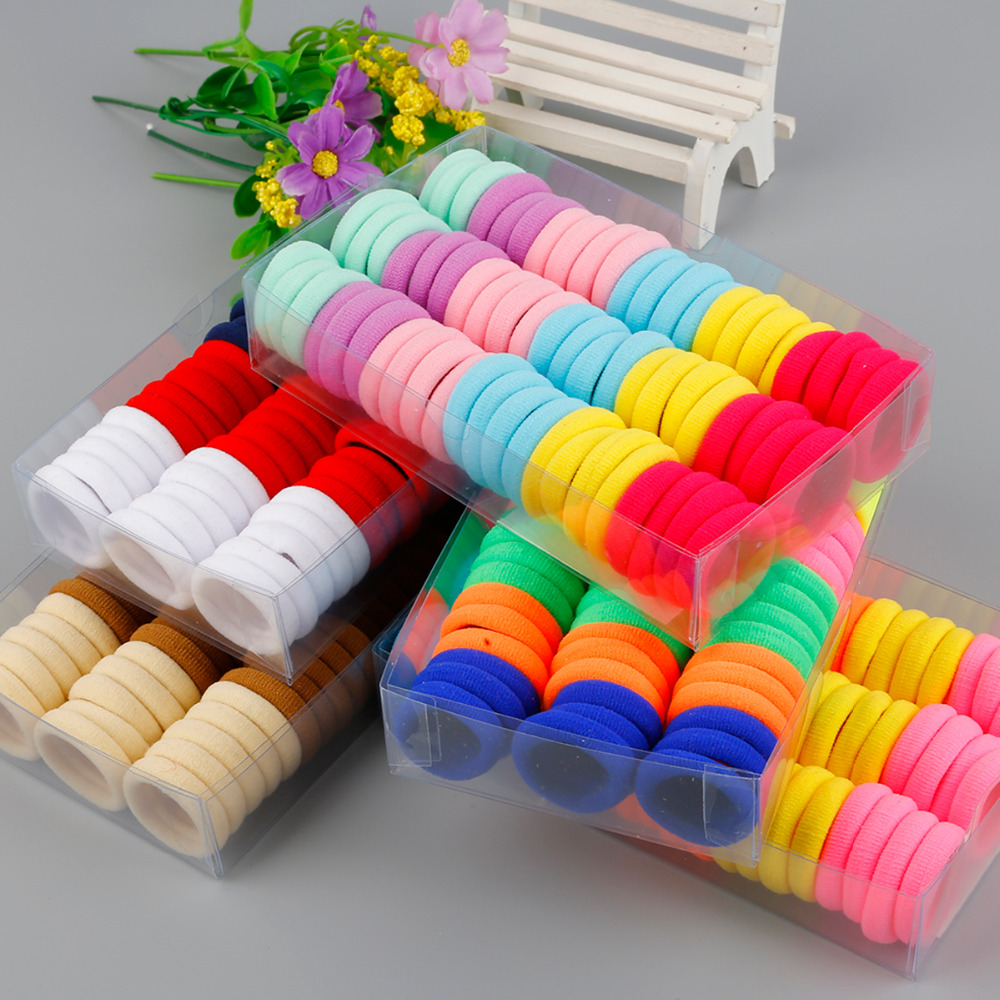 High Quality 66Pcs/Box Candy Color Scrunchy Elastic Hair Bands For Girls Kid Headband Decorations Hair Ties Accessories Dia 3cm