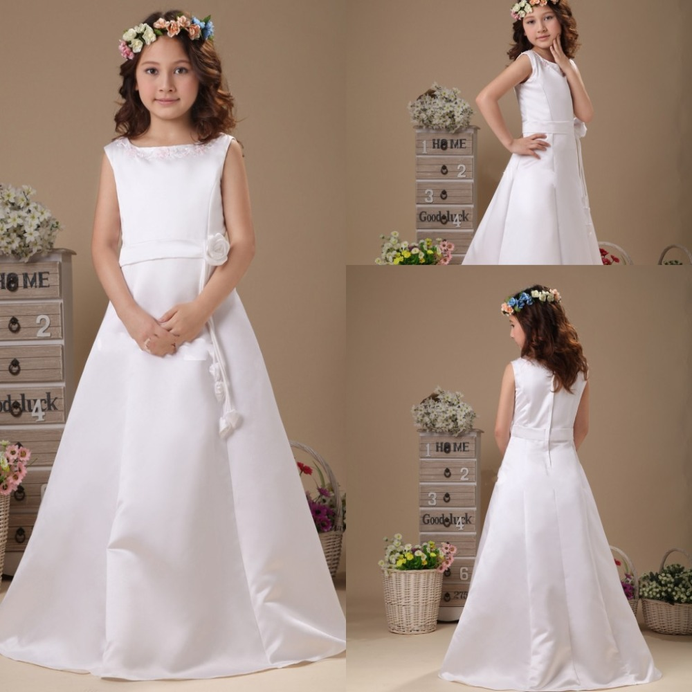 2014 New Cute Girls Pageant Dresses A Line White Wedding Dress Girl ...
