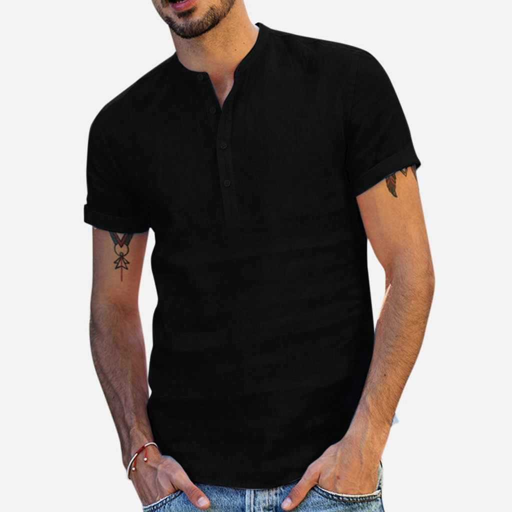 Summer Men's Baggy Cotton Linen Soid Color Short Sleeve Retro Shirts Tops Blouse High Quantity polo men