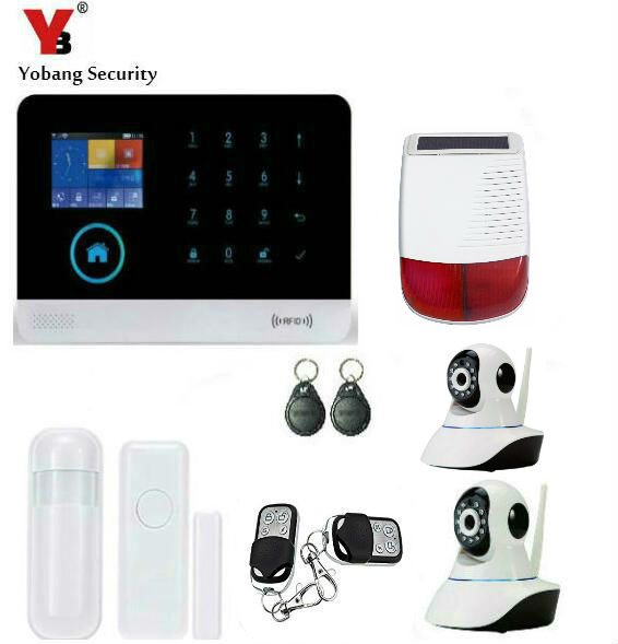 Yobang Security-WIFI APP Intelligent Control GSM Alarm Kits Outdoor Strobe Siren Alarm With Multi IP Camera For Home Protection yobang security rfid gsm gprs alarm systems outdoor solar siren wifi sms wireless alarme kits metal remote control motion alarm