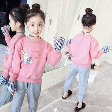 f755f9419 Otoño niñas trajes ropa de bebé coreano niños adolescentes deportes trajes  de manga larga moda Top + Pant 2018 Boutique ropa 4 5.