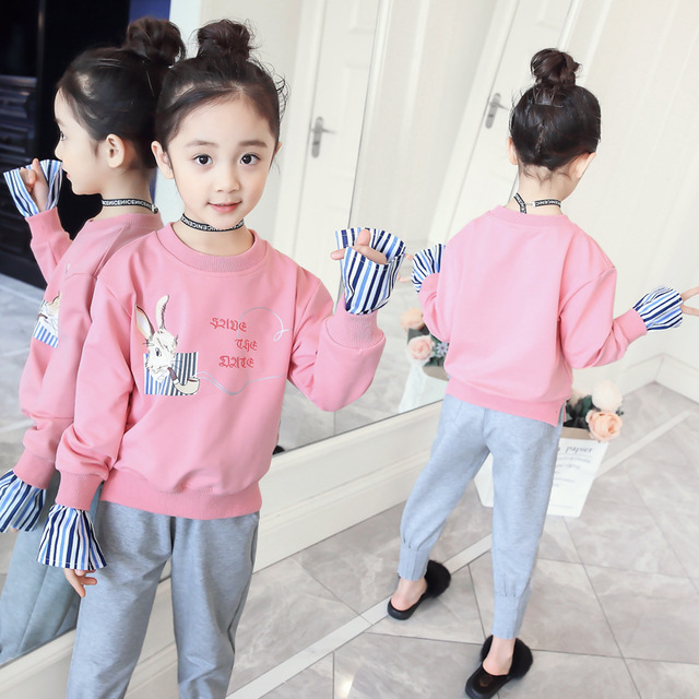f0e9a148d7ac Fall Girls Outfits Korean Baby Clothes Kids Teens Sports Suits Long Sleeve  Fashion Top + Pant 2018 Boutique Clothes 4 5 6 10 11