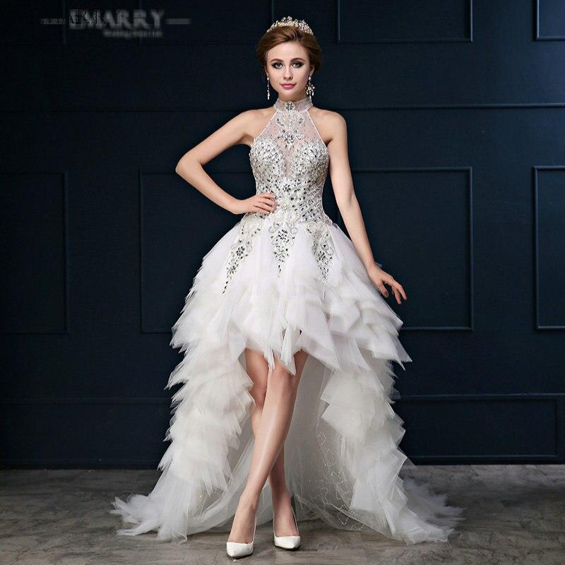 SZ345 Vestido De Noiva Romantic High Low Organza Above Knee Wedding ...