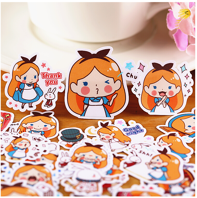 40pcs Creative Cute Self-made Alice Girl Scrapbooking Stickers /Decorative Sticker /DIY Craft Photo Albums