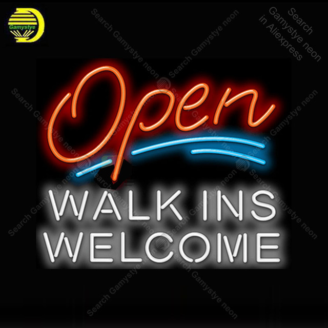 Open with Walk Ins Welcome Neon Light Sign Glass Tube Neon Bulbs Sign Decor Coffee Neon board Sign lamp anuncio luminoso Atarii