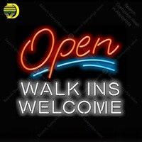 Open with Walk Ins Welcome Neon Light Sign Glass Tube Neon Bulbs Sign Decor Coffee Neon board Sign lamp anuncio luminoso Atarii