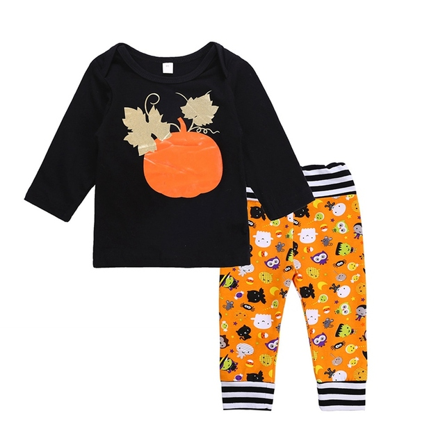 4f3f1598 New Autumn Baby Boys Girls Halloween Clothing Sets Children Spring Long  Sleeve Pumpkin Outfits Baby Shirt+Cartoon Pants 2pc Sets