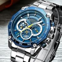 レロジオ Masculino メンズウォッチトップブランドの高級自動機械式時計男性フル鉄鋼事業防水スポーツ腕時計 -