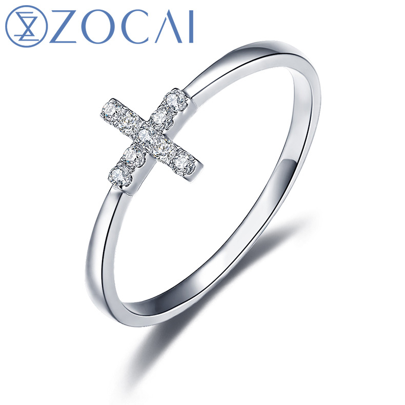 bague or blanc diamant croix