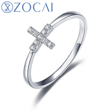 ZOCAI 2015 New Arrival Cross Shape Natural 0.05 CT Diamond Ring with Real 18K White Gold (Au750) W06115