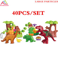 SERMOIDO 40Pcs/Lot Dino Valley Building Blocks Sets Large Particles Jurassic World Animal Dinosaur toys Bricks Duploe B317