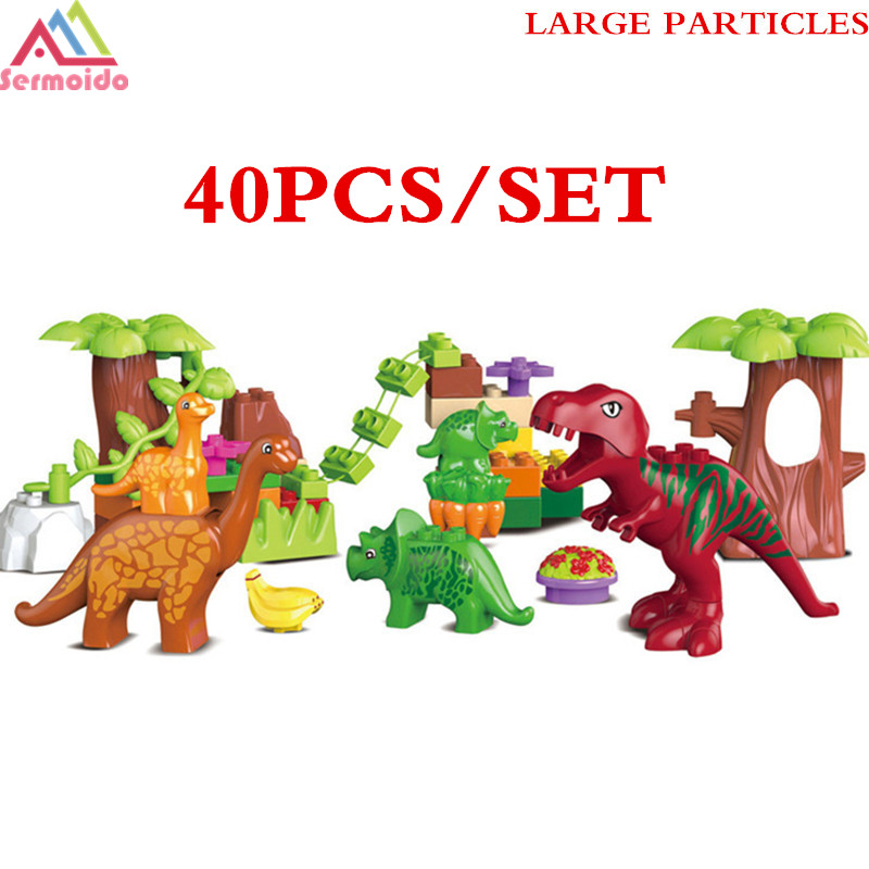 SERMOIDO 40Pcs/Lot Dino Valley Building Blocks Sets Large Particles Jurassic World Animal Dinosaur World toys Bricks Duploe B317