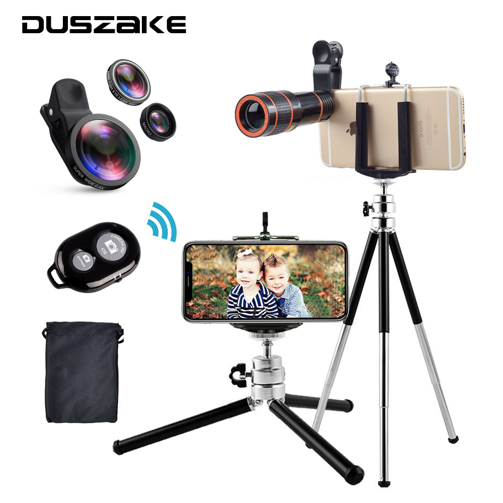 Duszake Mini Tripod for Mobile Phone with 8X Zoom Lens Fish Eye Wide Angle Macro Lens Tripod Stand For iPhone Xiaomi SmartPhone clip on fish eye 0 67x macro lenses set for cell phone black gold