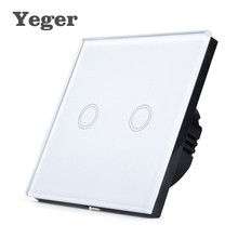 Yeger EU Standard Smart Wall Switch Remote Control Switch 1 Gang 1 Way Wireless Remote Control Touch Light Switch