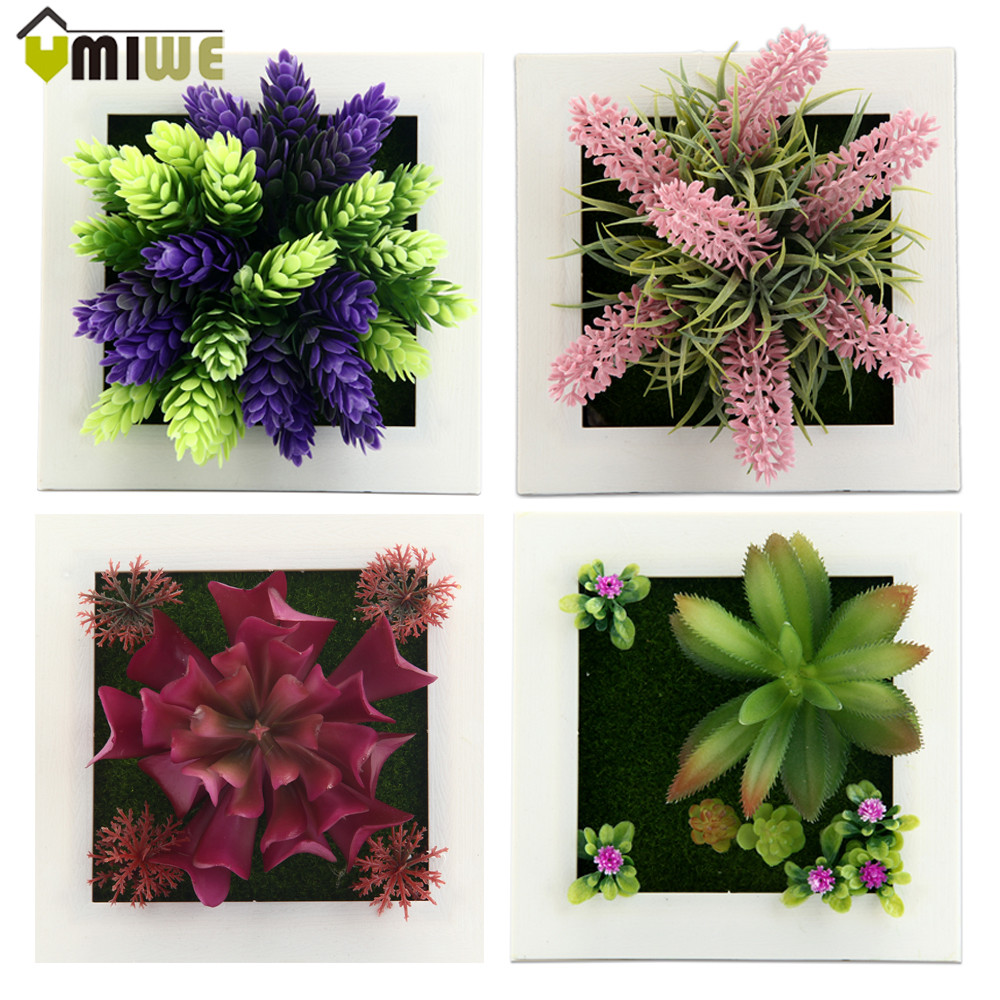 New Year Home Decor 3d Imitation Frame Shape Wall Hanging Artificial Flowers Plants Metope Fake Succulents
